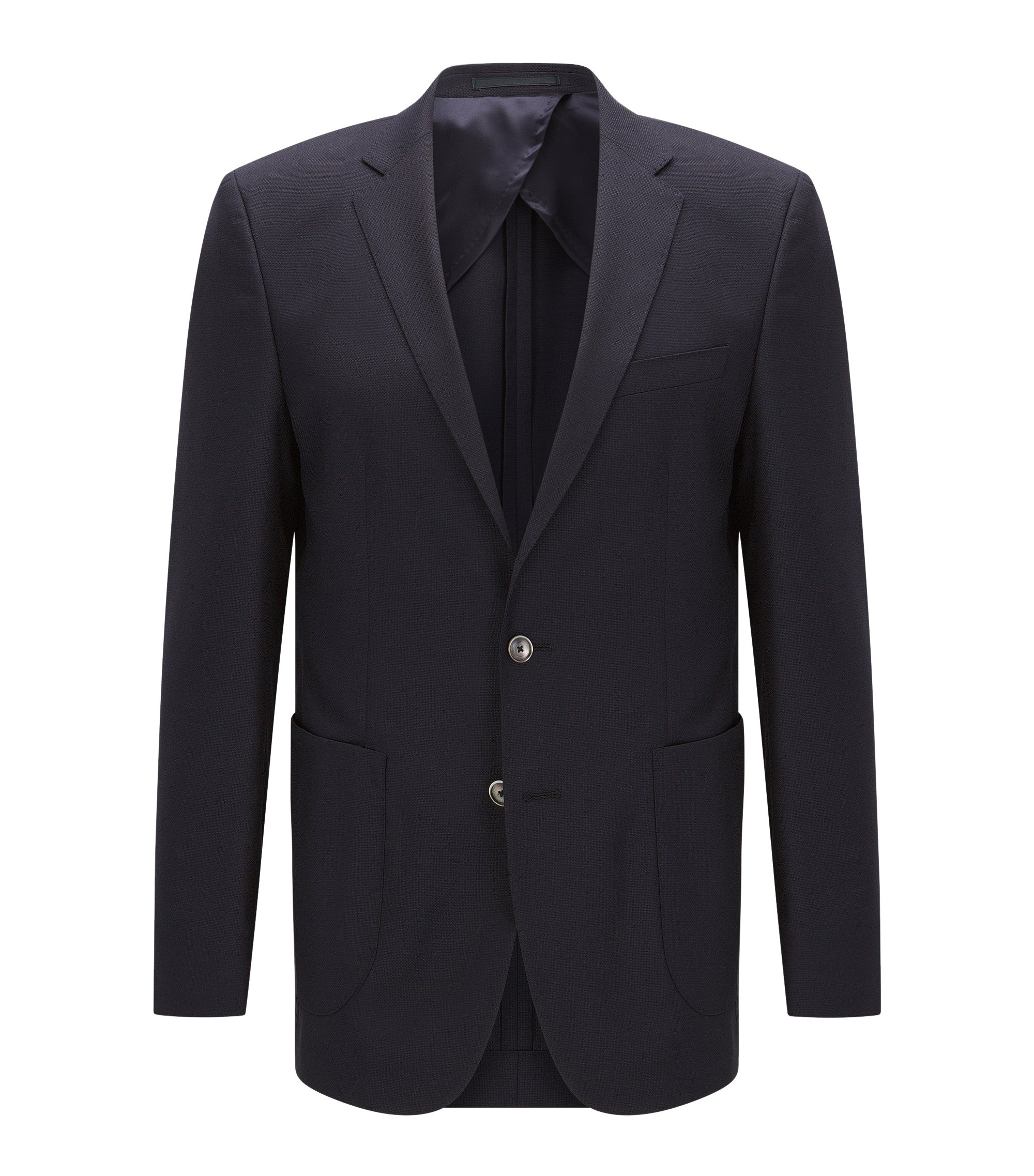 Slim-fit virgin wool jacket, Dark Blue