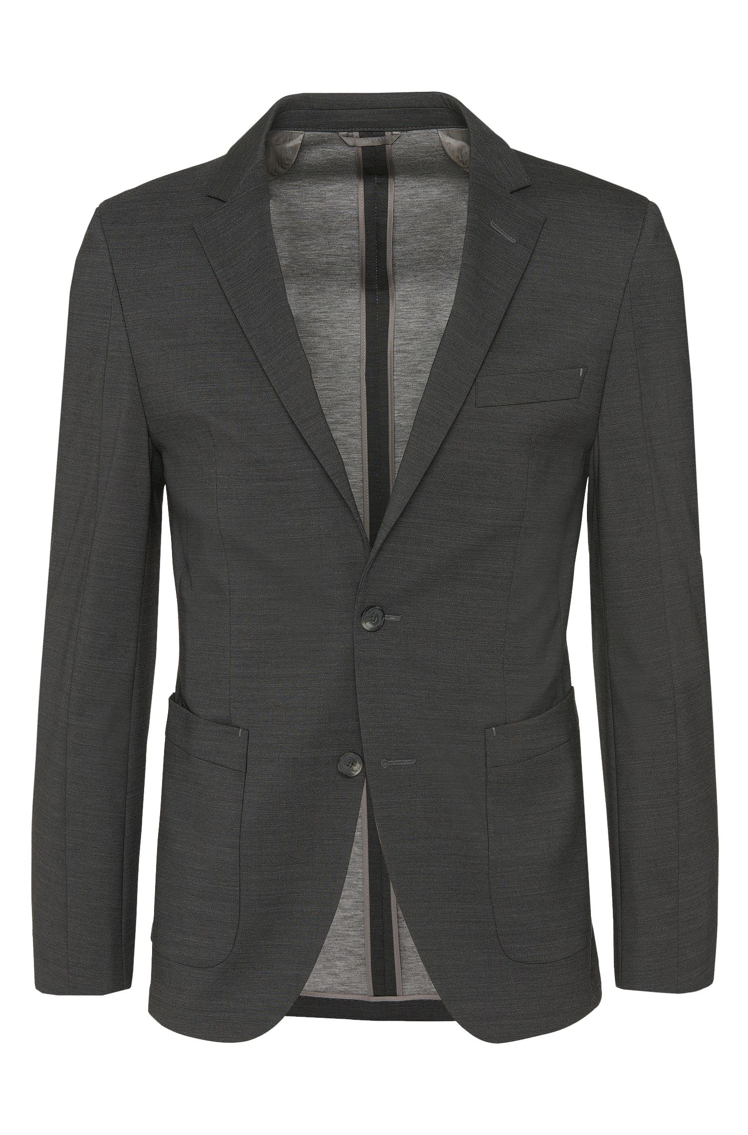Slim-fit Tailored jacket in a new-wool blend with modal and patch pockets: 'T-Nemax'