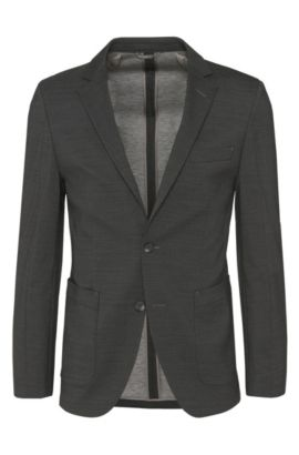 Slim-fit Tailored jacket in a new-wool blend with modal and patch pockets: 'T-Nemax', Dark Grey