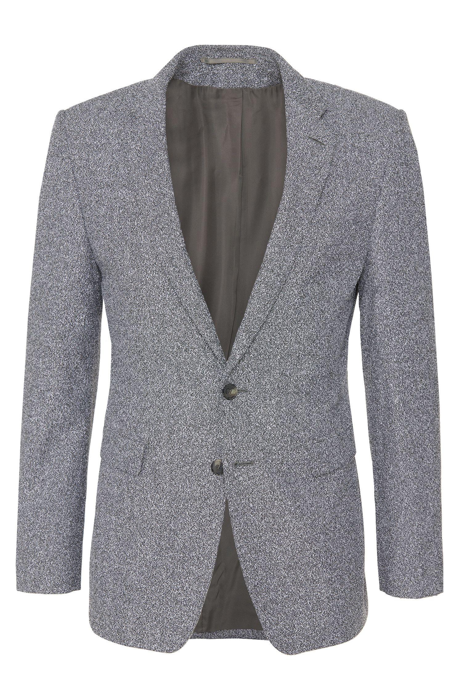 Americana extra slim fit de sastrería en mezcla de lana virgen con diseño moteado: 'T-Raven'