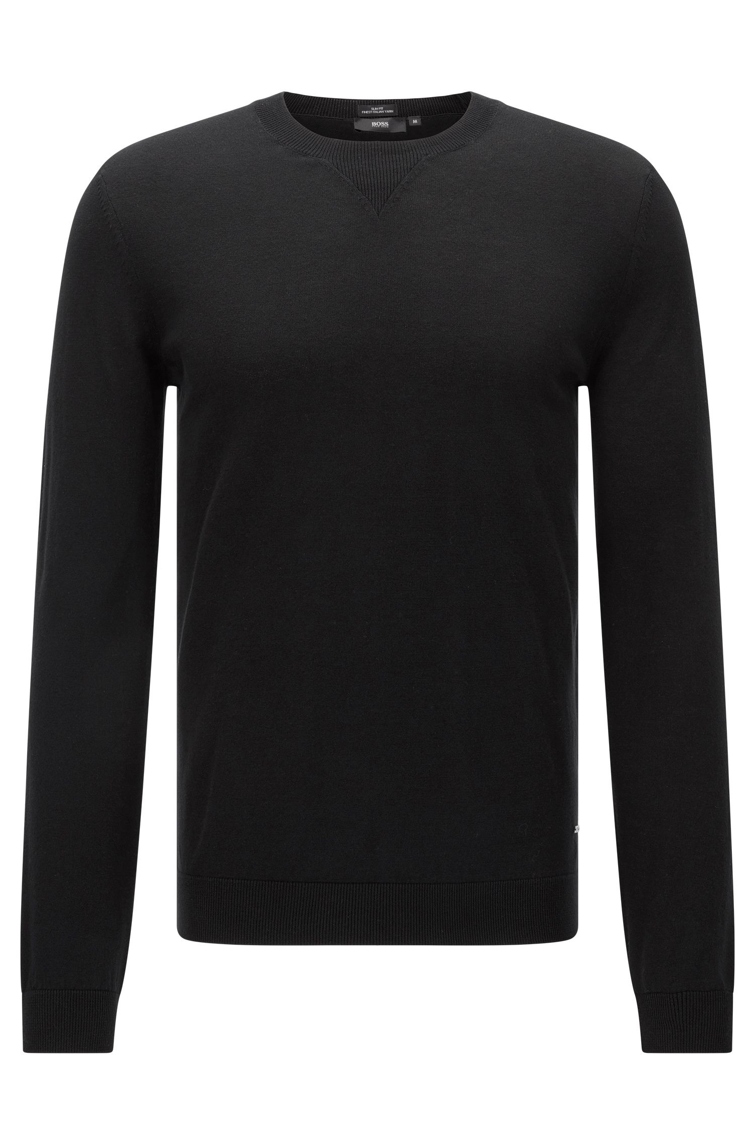Maglione slim fit in cotone mélange: 'Ives'