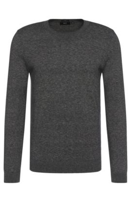 Slim-fit trui van gemêleerde katoen: 'Ives', Zwart