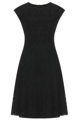 Vestido de encaje en mezcla de algodón con viscosa: 'Kathie-1', Negro