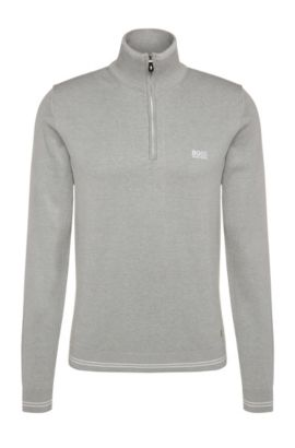 Slim-fit sweater in cotton blend: 'Zime_S17', Light Grey