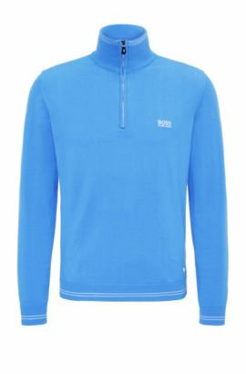 Slim-fit sweater in cotton blend: 'Zime_S17', Blue