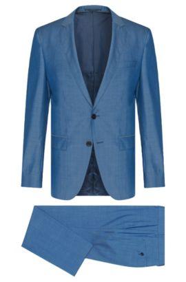 Costume Slim Fit finement chiné, en laine vierge: «Huge5/Genius3», Turquoise