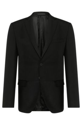 Extra slim-fit jacket in new-wool blend with mohair: 'Reevon_1', Black