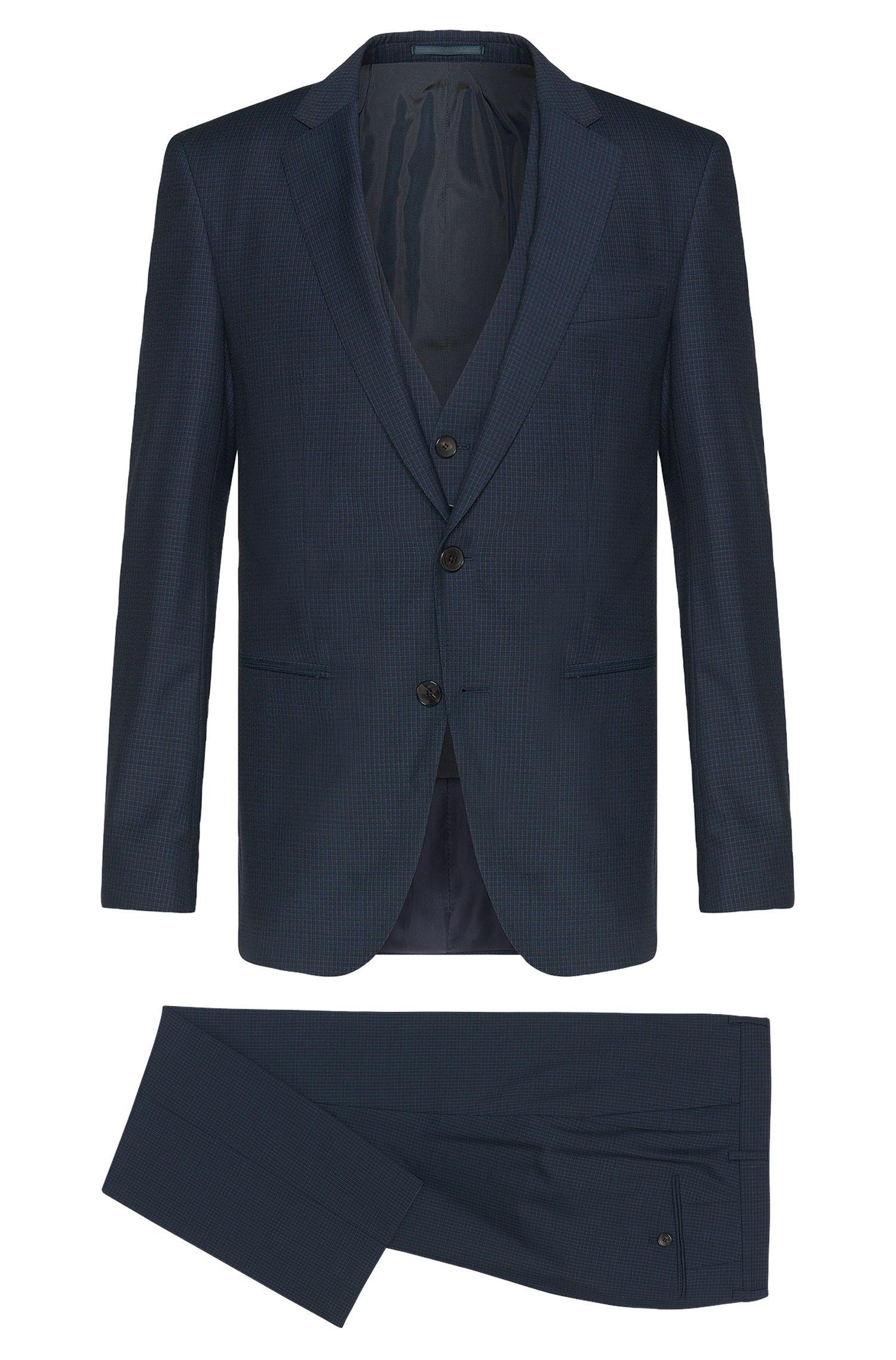 Slim-Fit Anzug aus Schurwolle mit dezentem Karo-Muster: 'Hamsen/Glenn WE'