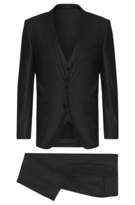 Costume Slim Fit en laine vierge mélangée extensible, avec gilet: «Hamsen/Glenn WE», Noir