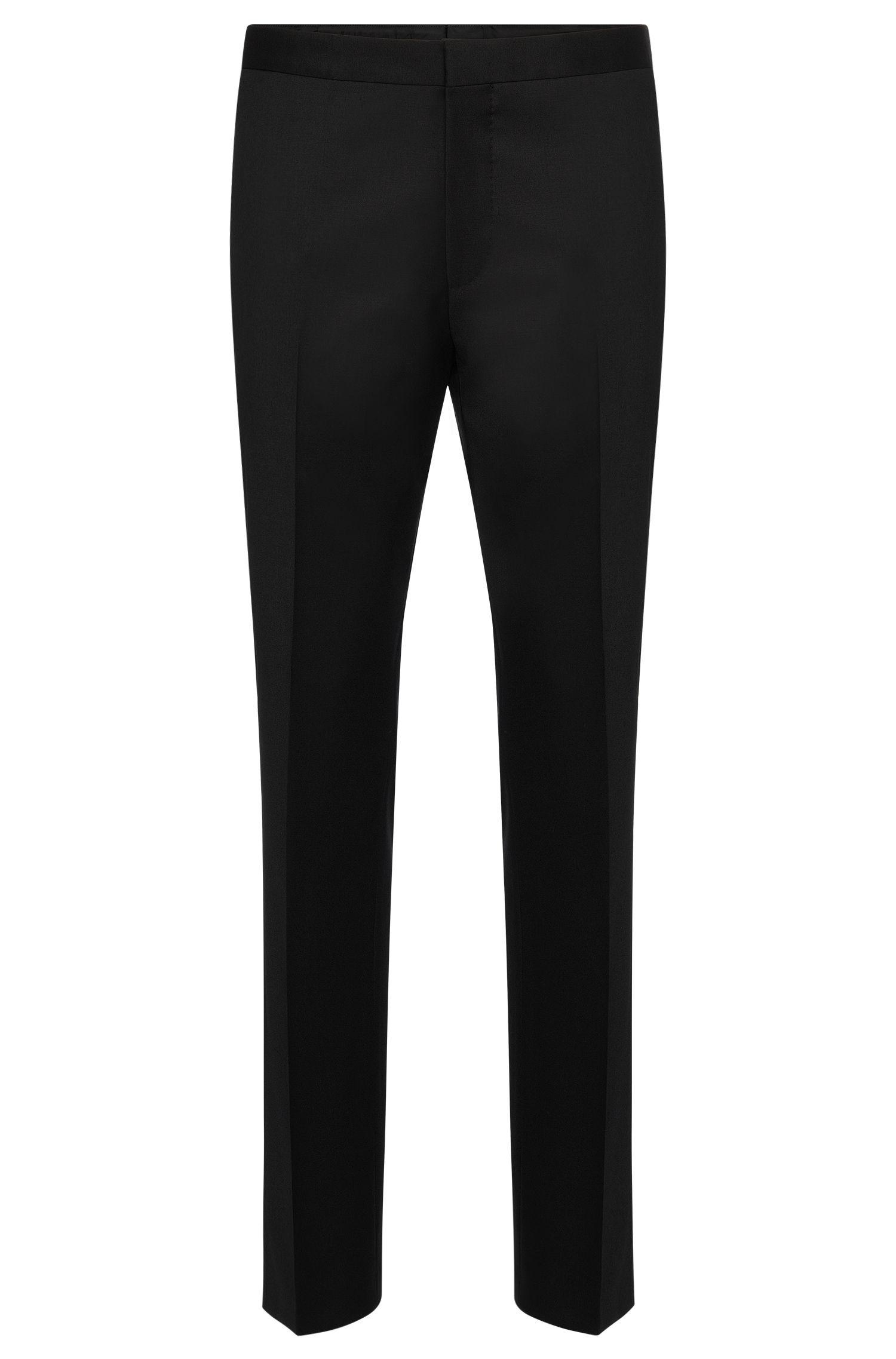Slim-fit broek van scheerwol met decoratieve riempjes: 'Godwin'