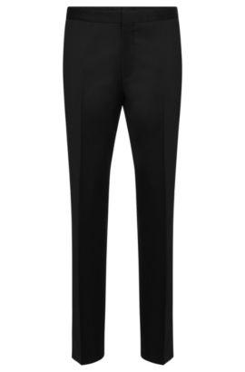 Pantalón slim fit de lana virgen con cierre decorativo: 'Godwin', Negro