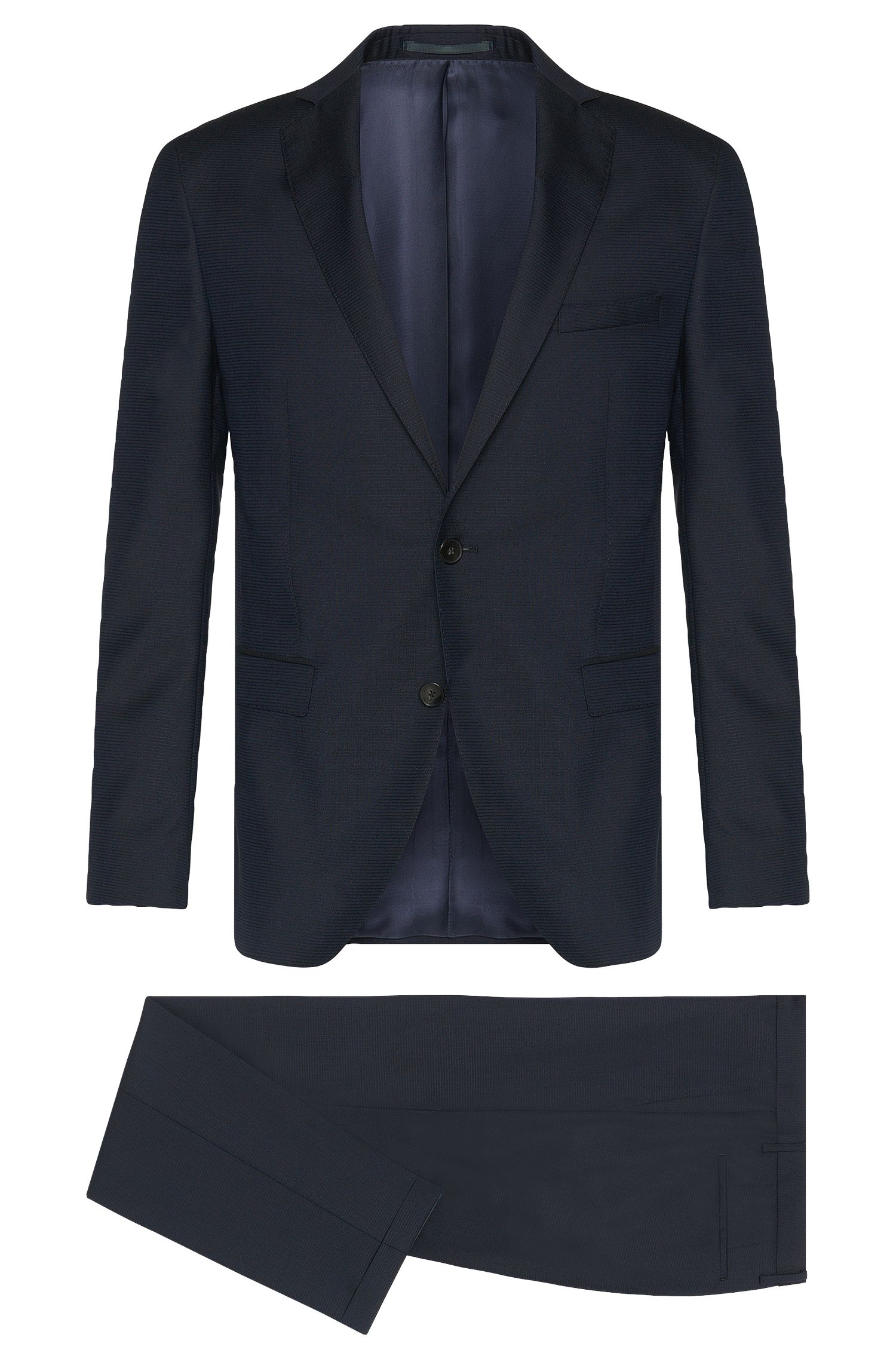 Extra slim-fit suit in new wool with textured pattern: 'Reyno2/Wave1'