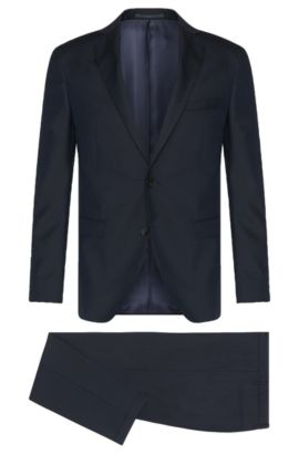 Extra slim-fit suit in new wool with textured pattern: 'Reyno2/Wave1', Dark Blue