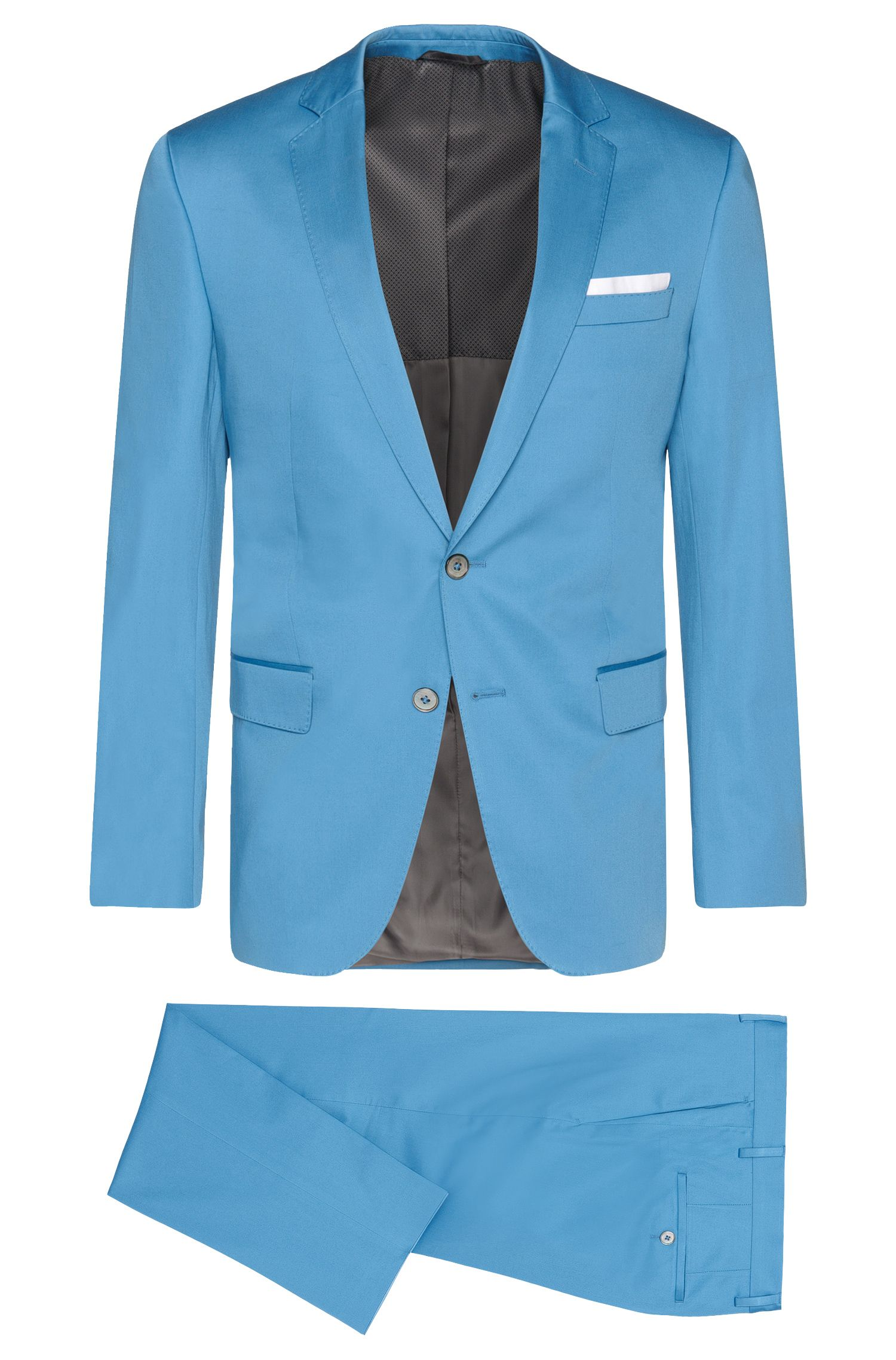 Slim-Fit Anzug aus Stretch-Baumwolle mit Einstecktuch: 'Hutson4/Gander1'