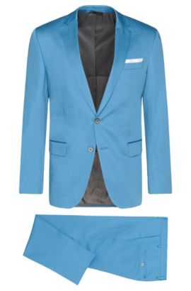Slim-fit suit in stretch cotton with pocket square: 'Hutson4/Gander1', Light Blue