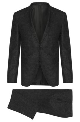Extra slim-fit suit in new wool with a subtle check pattern: 'Reyno2/Wave1', Black