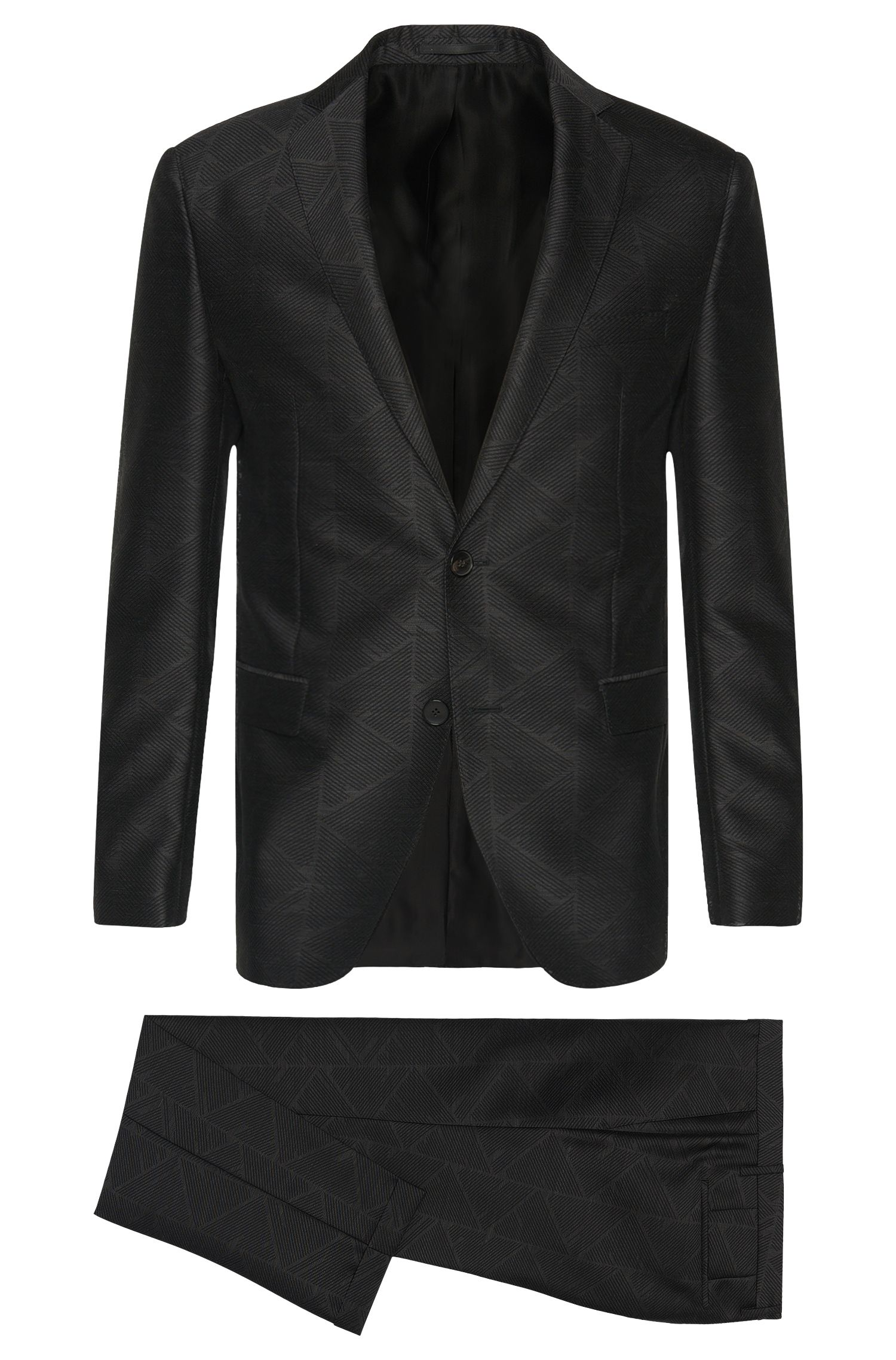 Extra slim-fit suit in new-wool blend with graphic pattern: 'Reyno2/Wave1'