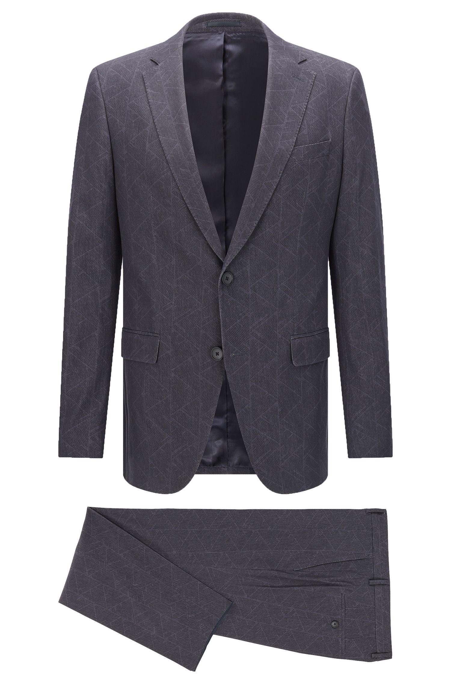 Gemusterter Slim-Fit Anzug aus elastischem Baumwoll-Mix: 'Novan3/Ben'