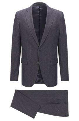 Gemusterter Slim-Fit Anzug aus elastischem Baumwoll-Mix: 'Novan3/Ben', Anthrazit