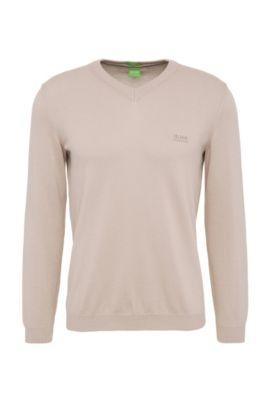 Regular-fit trui van gebreide katoen: 'C-Carlton_02', Lichtbeige