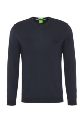 Jersey regular fit en punto de algodón: 'C-Carlton_02', Azul oscuro