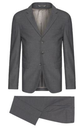 Slim-fit Tailored suit in new-wool blend with mohair: 'T-Nevil/Batwin', Grey