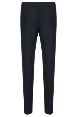 Pantalón slim fit en mezcla de algodón con seda: 'Per', Azul oscuro