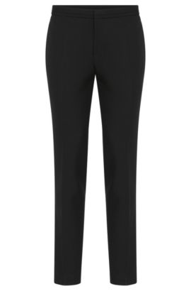 Extra slim-fit trousers with pressed creases: 'Wynn1_1', Black
