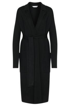 Chaqueta de punto larga en lana virgen con cinturón de anudar: 'Fasilena', Negro
