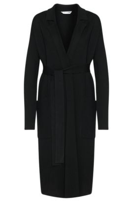 Long cardigan in new wool with wrap belt: 'Fasilena', Black