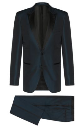 Slim-Fit Tailored Anzug aus reiner Seide mit Smoking-Details: 'T-Hampton/Glad', Dunkelblau
