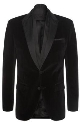 Americana regular fit en algodón con detalles de seda: 'Havit', Negro