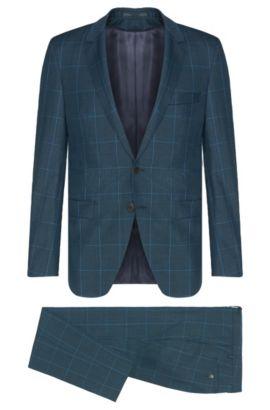 Costume Extra Slim Fit Tailored à carreaux en laine vierge mélangée à teneur en mohair: «T-Reeve1/Wain», Turquoise