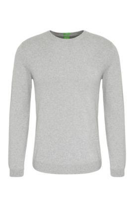 Regular-fit sweater in cotton: 'C-Caspar_02', Light Grey