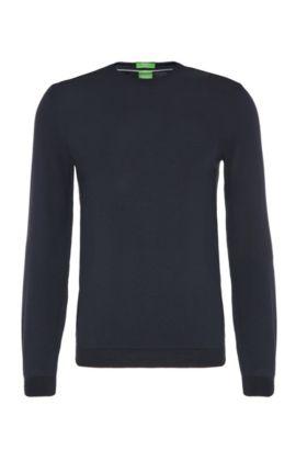 Regular-fit sweater in cotton: 'C-Caspar_02', Dark Blue