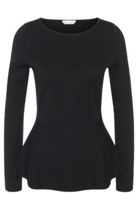 Pullover aus Schurwolle mit Schößchen-Detail: 'Finola', Schwarz