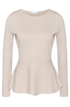 Maglione in lana vergine con dettaglio drappeggiato: 'Finola', Beige chiaro