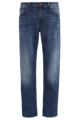 Jeans Regular Fit Big&Tall, en coton stretch au look usé : « C-B4 », Bleu