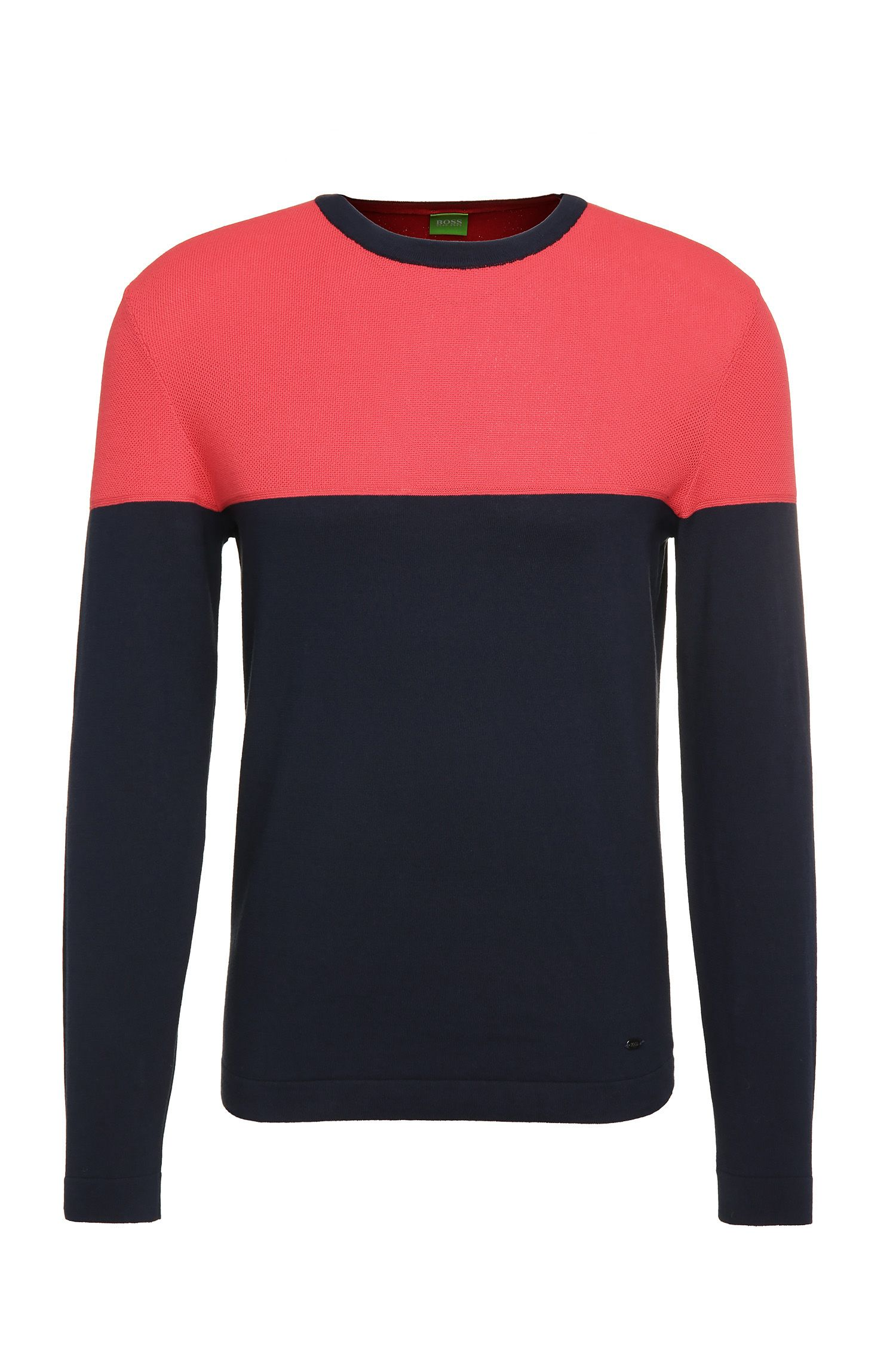 Slim-Fit Pullover aus Baumwolle im Two Tone Design: ´Raza`