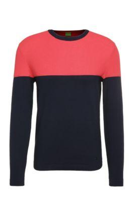 Slim-fit trui van katoen in two tone-ontwerp: 'Raza', Donkerblauw
