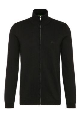 Regular-fit cardigan in pure cotton: 'C-Castor_02', Black