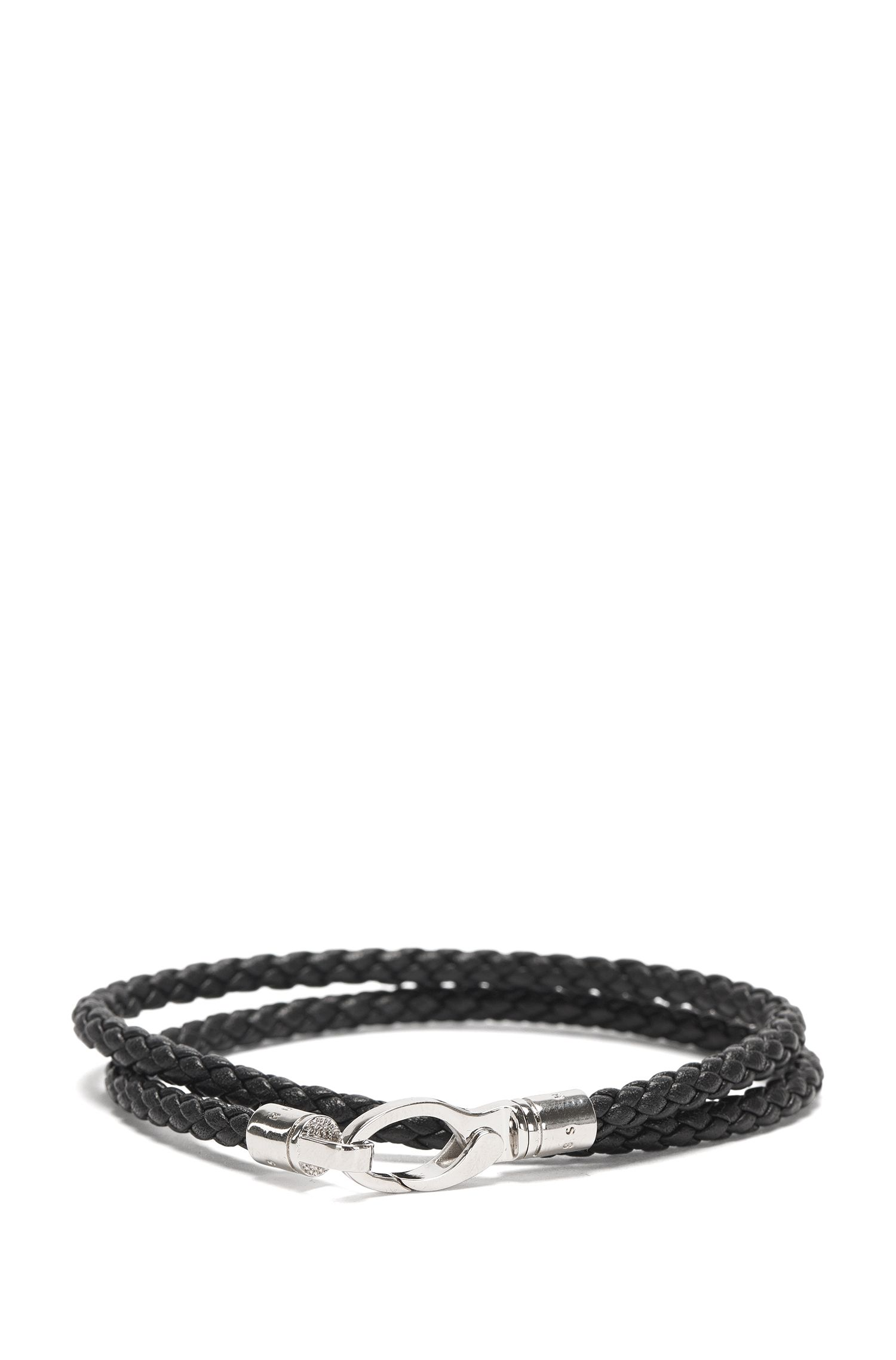 Leather wrap bracelet in a braided look: 'Benjamin'