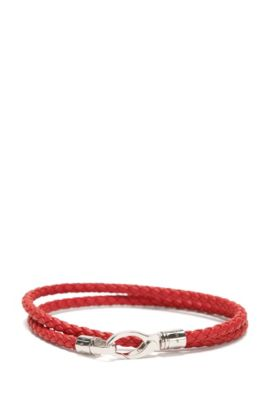 Leather wrap bracelet in a braided look: 'Benjamin', Red