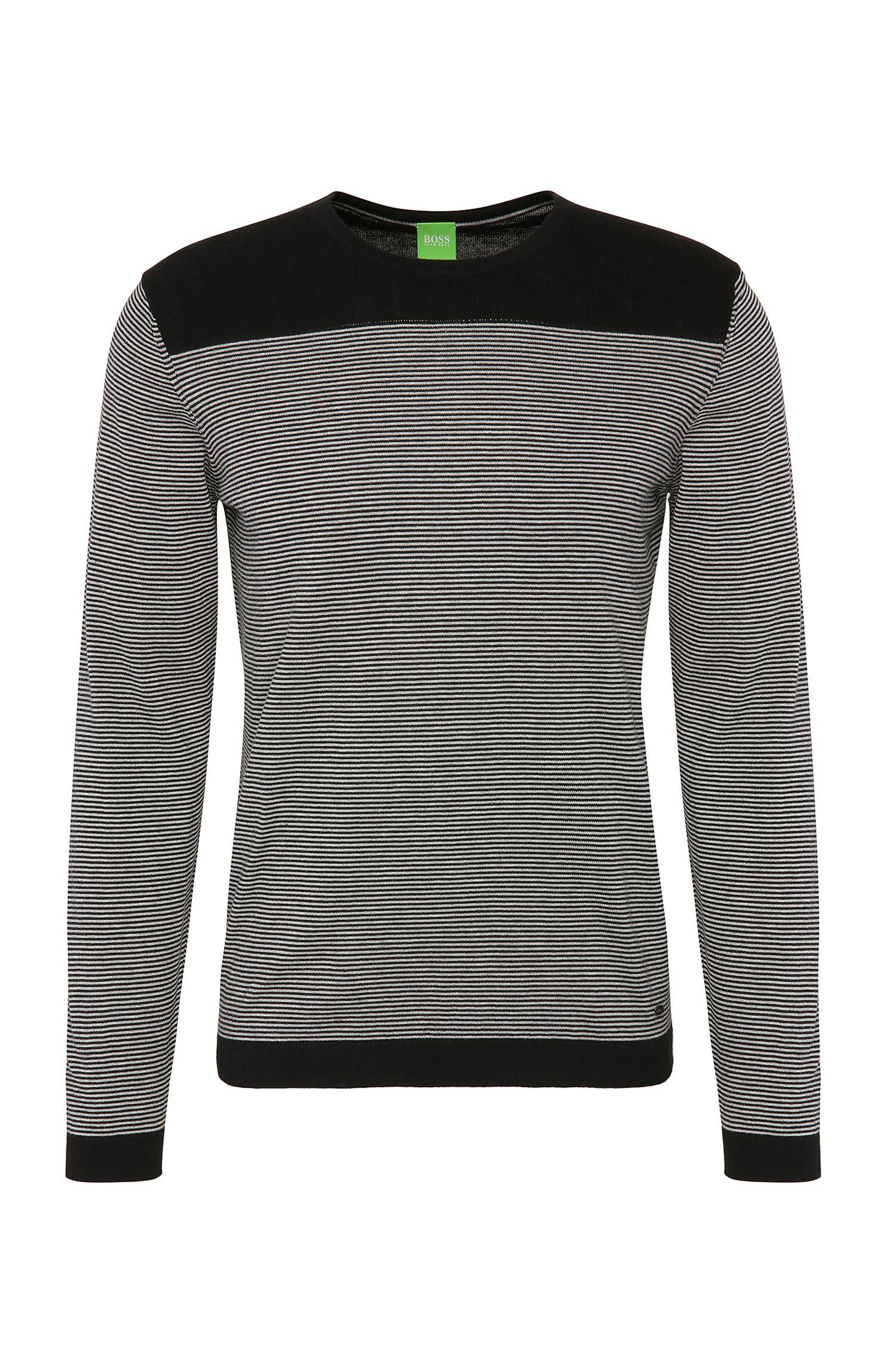 Gestreepte slim-fit trui van een katoenmix met wol: 'Roff'