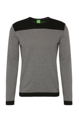 Striped slim-fit sweater in cotton blend with wool: 'Roff', Black