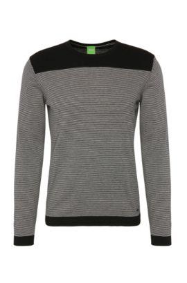 Gestreifter Slim-Fit Pullover aus Baumwoll-Mix mit Wolle: ´Roff`, Schwarz