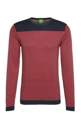 Striped slim-fit sweater in cotton blend with wool: 'Roff', Dark Blue