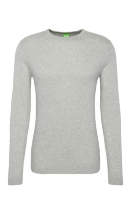 Regular-fit knit sweater in cotton blended with wool: 'Ritt', Light Grey