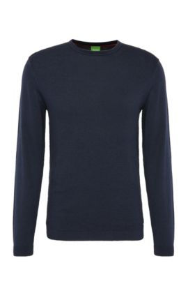 Regular-fit knit sweater in cotton blended with wool: 'Ritt', Dark Blue