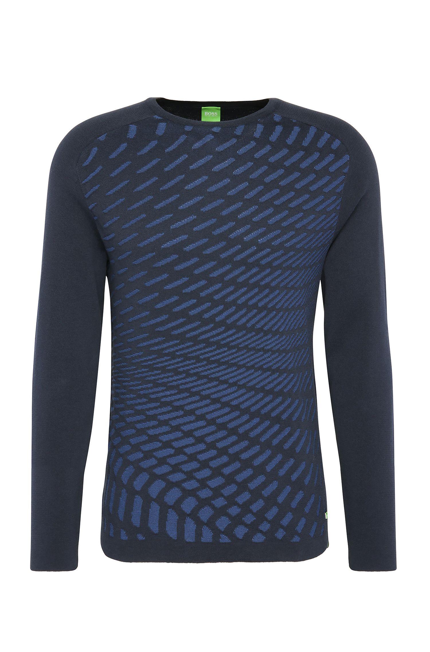 Maglione in maglia slim fit a disegni in cotone: 'Ramo'
